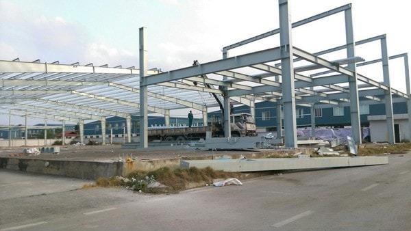 Thi công nhà xưởng tại khu công nghiệp Tân Khai - Bình Phước.